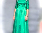 "Halloween Costume, 1960's ""Harry Keiser"" SILKY SATIN Emerald Green PROM Dress, size 4 Small (As Is)"