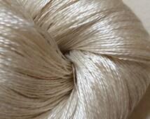 LACE Silk Gossamer Weight Ivory Undyed Yarn,  Ivory Undyed Silk Lace Yarn, Cultivated Bombyx Silk Lace Yarn, Gossamer Yarn, Lace Yarn Base