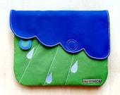 Clutch Purse / Pouch - Cloudy Days Clutch (Royal Blue AppleGreen)