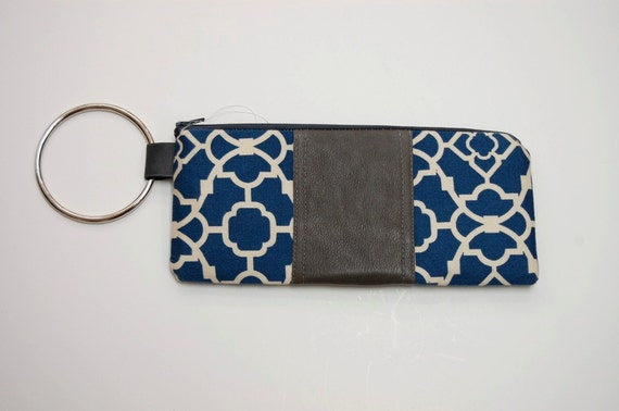 The leather and print BANGLE Wristlet in navy cotton lattice with grey leather. SALE originally 55.00