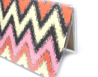 Checkbook Cover - Desert Sunset ikat Chevron - pink, orange, silver, vanilla - sparkly zig zag checkbook holder - side or top tear