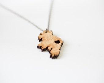i heart Ireland - Bamboo Wood Ireland Necklace Ireland Country Necklace