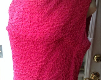 Vintage Hot Pink Ruched Chiffon Top
