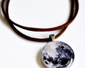 Magical Moon Pendant & Suede Necklace