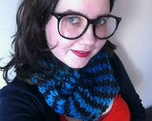 Striped cowl - brown and blue green wool scarf - warm winter accessories