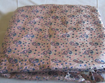 Three yards 44 inch wide pink and blue paisley print silky fabric