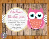 Owl Baby Shower Invite Rustic Autumn Fall Chevron Damask It's a Girl Baby Shower Coral Teal Pink Fall Autumn Printable 5x7 Digital JPG (318)