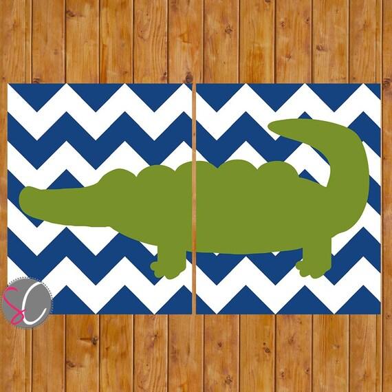 Navy Blue Wall Decor Nursery : Alligator nursery decor wall art navy blue chevron lime green