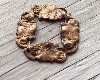 Brass Pendant -  Vintaj natural brass waterlily pendant