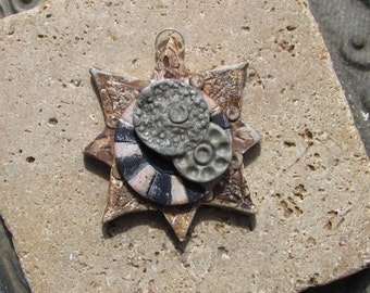 Handmade Pendant Inspired by Antique Maps of Earth and Stars No.3