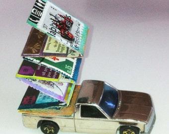 Silver Streak miniature truck book,tiny truck, unique book, , silver toy truck, toy truck, artists book,accordion book, book object,art book