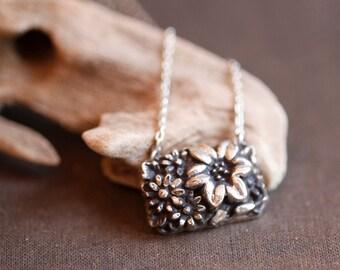 Summer flower basket, sterling silver cabochon pendant, Art Nouveau style