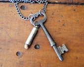 Skeleton Key Necklace - Fertility Bead Necklace - key necklace - vintage key necklace - eco - boho chic