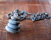 Cairn Necklace - gray stones - Beach stone necklace - vintage chain - Cairn Jewelry - Zen - spiritual - Beach Pebble Necklace - boho chic