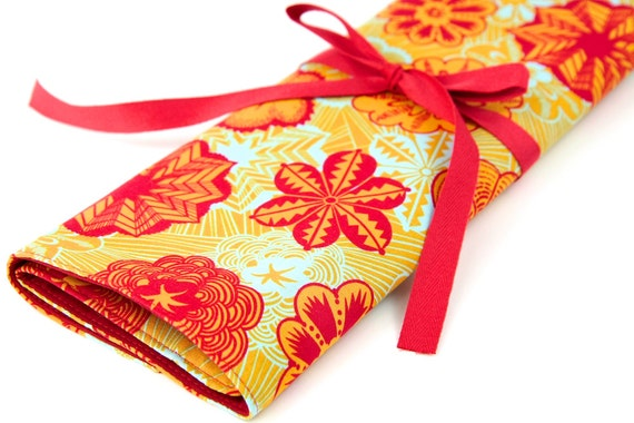 Knitting Needle Case - Butterscotch -IN STOCK  Large Organizer 30 Red Pockets for All Sizes