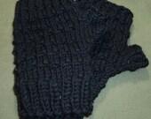 Jet Black Merino Hand Knit Fingerless Gloves