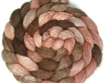 Handpainted Merino Silk 50/50 Wool Roving - 4 oz. ROSEWOOD - Spinning Fiber