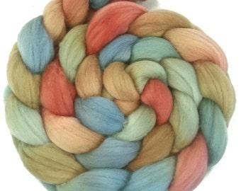 Handpainted Superfine Merino Wool Roving - 4 oz. EARTHEN HUES - Spinning Fiber