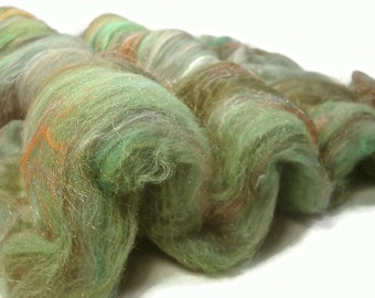 Wool Fiber Batts -- Hand Carded in Shades of Green and Orange -- 3.5 ounces Lot #6