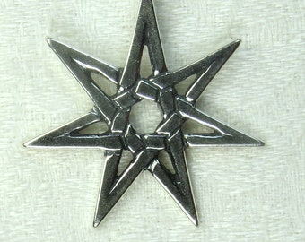 Seven pointed Star, or Fairy star,  solid Sterling Silver,
