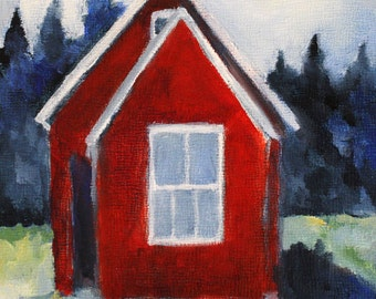 original oil painting giclee print / Little Red Cabin / Maine