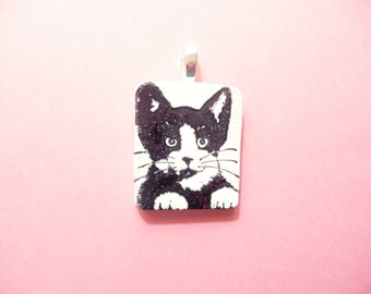 Tuxedo Cat Pendant, Cute Cat Jewelry, Black and White Cat, Cat Lover Gift, Kitty Face, Pet Lover Pendant, Optional Chain, Polymer Clay