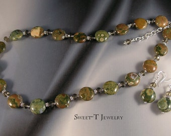FREE SHIPPING - Ocean Jasper and  Silver Plated Necklace