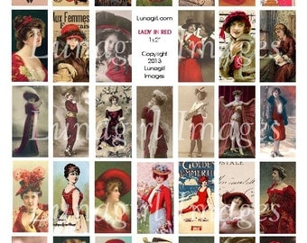 LADY in RED DOMINOES 1x2-inch images for crafts pendants Victorian ladies Edwardian women flappers girls photos art hats pictures printables