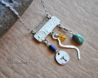 CHARMING all sterling silver charm and gemstone dangle pendant necklace length and clasp choice by srgoddess
