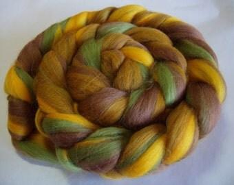 Merino spinning fiber, merino wool roving, felting wool, wet/nuno/needle felting fiber, dreads,dolls hair,green, brown,100g/3.5oz