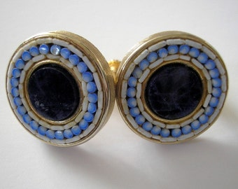 Vintage Blue and White Mosaic Earrings - Screw Back Style