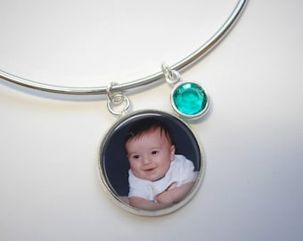 Custom Charm on Expandable Bangle Bracelet - Custom Charm Bracelet with Optional Birthstone Charms - Personalized