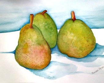 Pear Painting watercolor painting kitchen, fruit art, original 11 x  15, Original yellow green red Pear Minimalist Modern watercolor pears