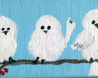 "Birds mini acrylic painting canvas art, easel 2"" x 4"" bird art, birds painting, fluffy little white birds sky blue, mini canvas painting"