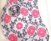 Baby Girl Bib & Burp Cloth Set  - Chenille Triple Layer Design  -  Pink and Grey Floral Lattice