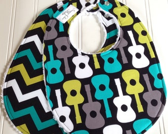 Baby Bibs for Baby Boy  -  Set of 2  Triple Layer Chenille  -  Guitars and Chevron