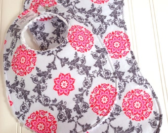 Baby Girl Bib & Burp Cloth Set  - Chenille Triple Layer Design  -  Pink and Grey Floral Lattice