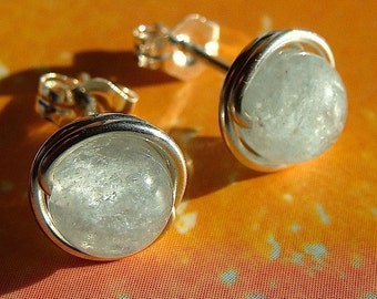 Aquamarine Studs 8mm Aquamarine Earrings Wire Wrapped in Sterling Silver Post Earrings Studs Birthstone Earrings
