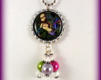 "Jasmine Becket-Griffith  "" Dragonfly Mermaid ""  necklace"