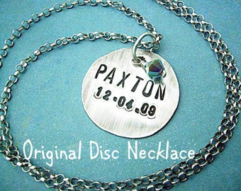 original disc necklace, custom personalized Hand-Stamped 1 inch Sterling Silver MOMMY Disc Necklace - modern. rustic. metalwork, birthstone