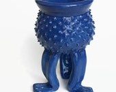 Bright Blue Grouchy Planter Pot with Spikes and Sculpted Feet