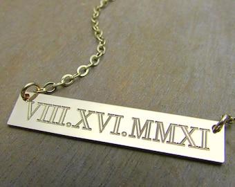 Roman Numerals Gold Bar Necklace | Long Gold Bar Necklace | Modern Bar Necklace | Personalized Jewelry 14K GF
