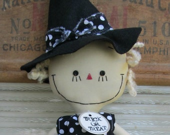 Halloween Witch handmade cloth rag doll in Black and White Polka Dots
