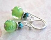 LAMPWORK and TURQUOISE Hill Tribe Silver Earrings