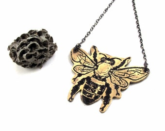 Golden Honey Bee Necklace - Sterling Silver and Brass