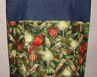 New Handmade Christmas Tree Cardinal Greenery Music Holiday Large Denim Tote Bag