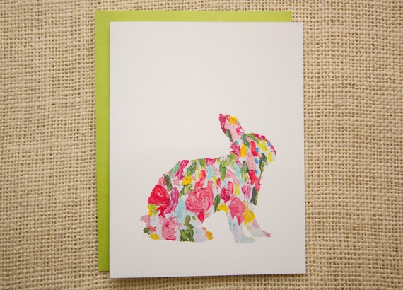 Happy Easter Card, Easter Card, bunny card, abstract bunny painting, new baby card, blank