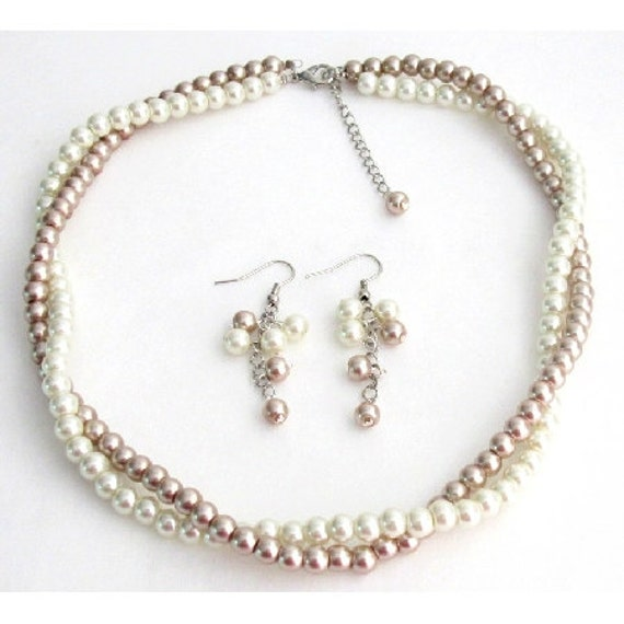 Ivory Champagne Pearls Twisted Pearl Necklace Set Wedding Jewelry Bridesmaid Flower Girl Maid Of Honor Shipping In USA