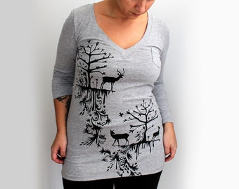 SALE Small- Heather Gray V-Neck Long Sleeve Tunic with Deer and Trees Print