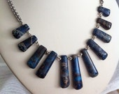 Blue Stone Fan Chainmail Necklace